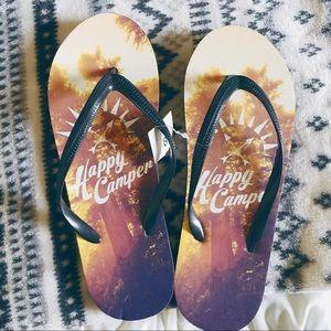 Happy Camper Black Flip Flops Size 8 NWT